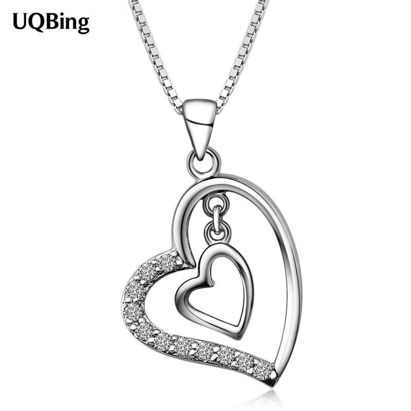[해외] Women Sterling Silver Jewelry Zircon Heart Necklaces & Pendants Colgante Pingente de plata/ Women Sterling Silver Jewelry Zircon Heart Neckla