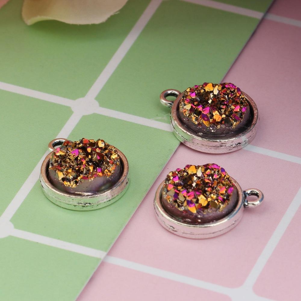 [해외]DoreenBeads Zinc Based Alloy & Resin Drusy Charms Round Antique Silver Multicolor AB Color 18mm( 6/8\