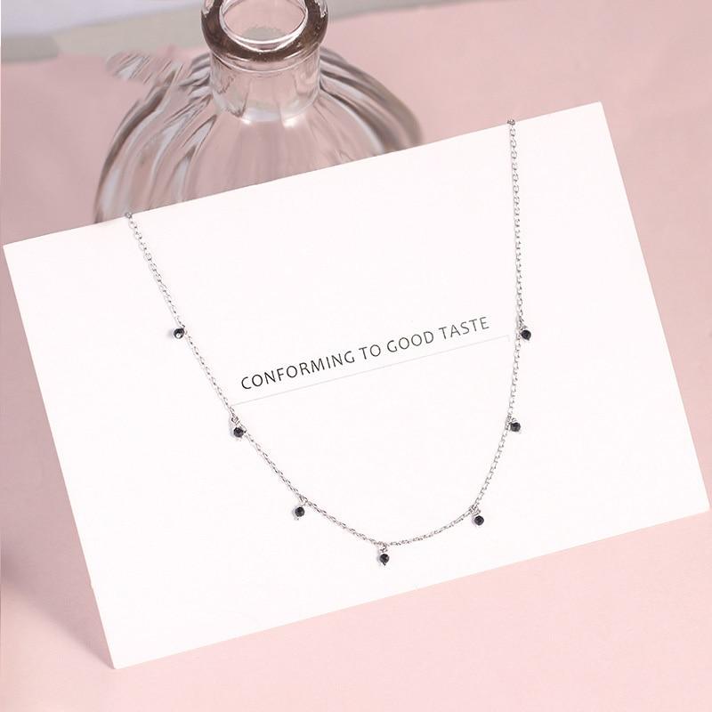 [해외]925 Sterling Silver Choker Necklace For Women Japanese Style Girls Black Bead Short Clavicle Charm Necklaces Fine S925 Jewelry/925 Sterl