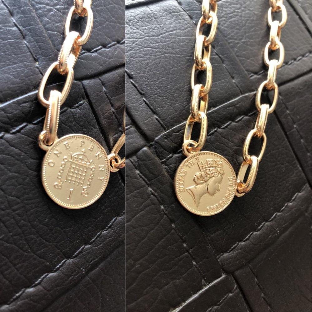 [해외]TRENDY GOLD COLOR PLATING COIN PENDANT CHOKER NECKLACE FOR WOMEN GIRL/TRENDY GOLD COLOR PLATING COIN PENDANT CHOKER NECKLACE FOR WOMEN G