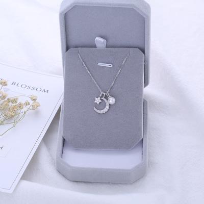 [해외]Fashion Charm Women Moon Star Necklaces Jewelry 925 Sterling Silver Choker Necklaces Pendants For Women Girls Gifts Colar/Fashion Charm