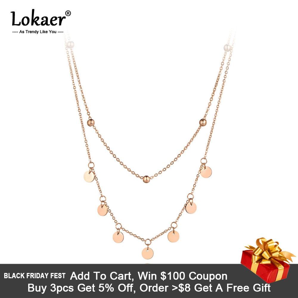 [해외]Lokaer Trendy Bohemia Stainless Steel Double-layer Charm Chain Choker Necklace Beach Jewelry Pendant Necklace For Women N19127/Lokaer Tr