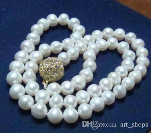 """[해외]Charming9-10mm 진짜 자연 백색 Akoya 경작 된 진주 자석 걸쇠 목걸이 18 """"/Charming9-10mm Real Natural White Akoya Cultured Pearl Magnet Clasp Necklace 18\"""