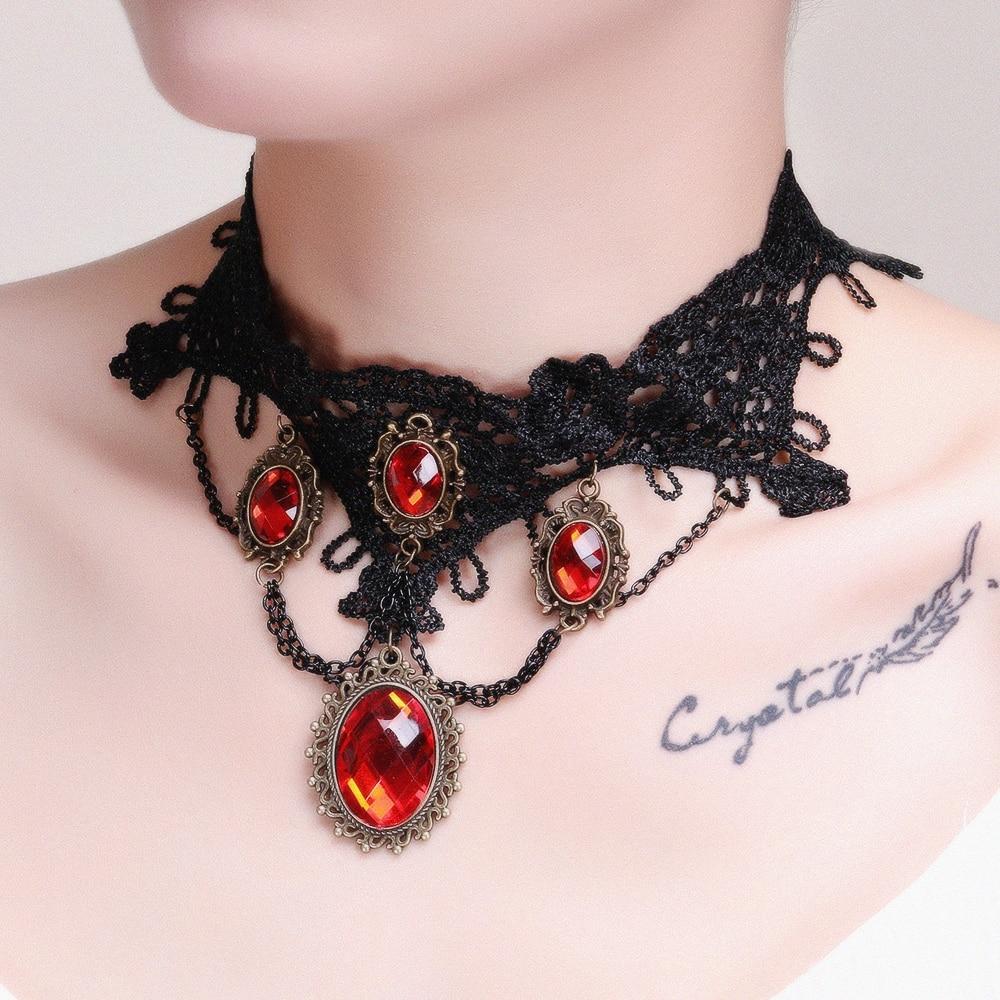 [해외]Black Lace Choker Necklace Women Gothic chockers Boho flower Gothic Chokers 2016 vintage necklace Fashion jewelry/Black Lace Choker Necklace Women