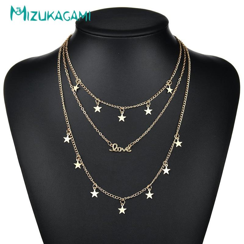 [해외]Necklace Women Letter Love Multilayer Star Zinc Aloy Gold Long Statement Custom Necklace Initial Necklace /Necklace Women Letter Love Multilayer S