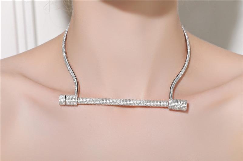 [해외]ZOZIRI 100% 925 Sterling Silver Horseshoe Choker Necklace Chocker Colar real silver zircon Women screw  shackle u collar/ZOZIRI 100% 925 Sterling