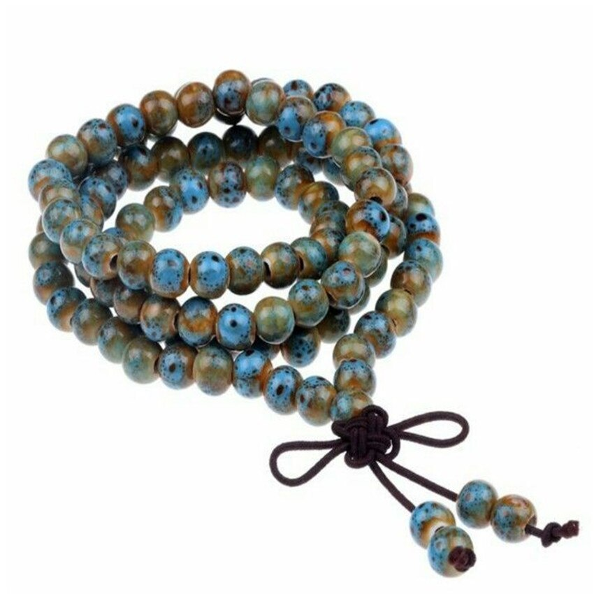 [해외]/6mm Ceramics Bracelet Hot natural Lucky Bless UniChakas new Veins Buddhism Meditation cuff mala yoga  Wrist MONK