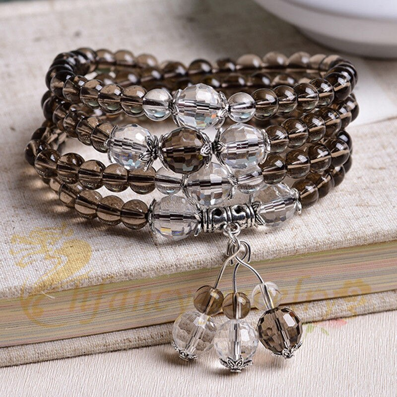 [해외]6mm Gray Crystal Bracelet Necklace sandalwood pray New yoga Lucky Necklace Stretchy Healing Prayer Buddhist Bless Wristband cuff/6mm Gray Crystal