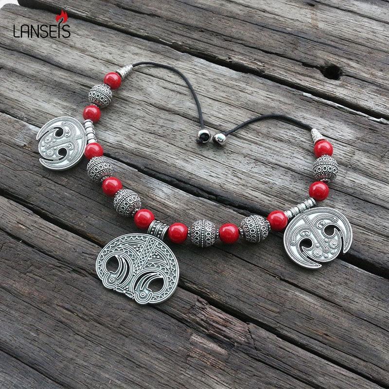 [해외]Medieval Slavic Costume Jewelry Brooch, Slavic Lunula Viking Age Dress Carnelian Lace Necklace Brooch Jewelry For Unique Women/Medieval Slavic Cos