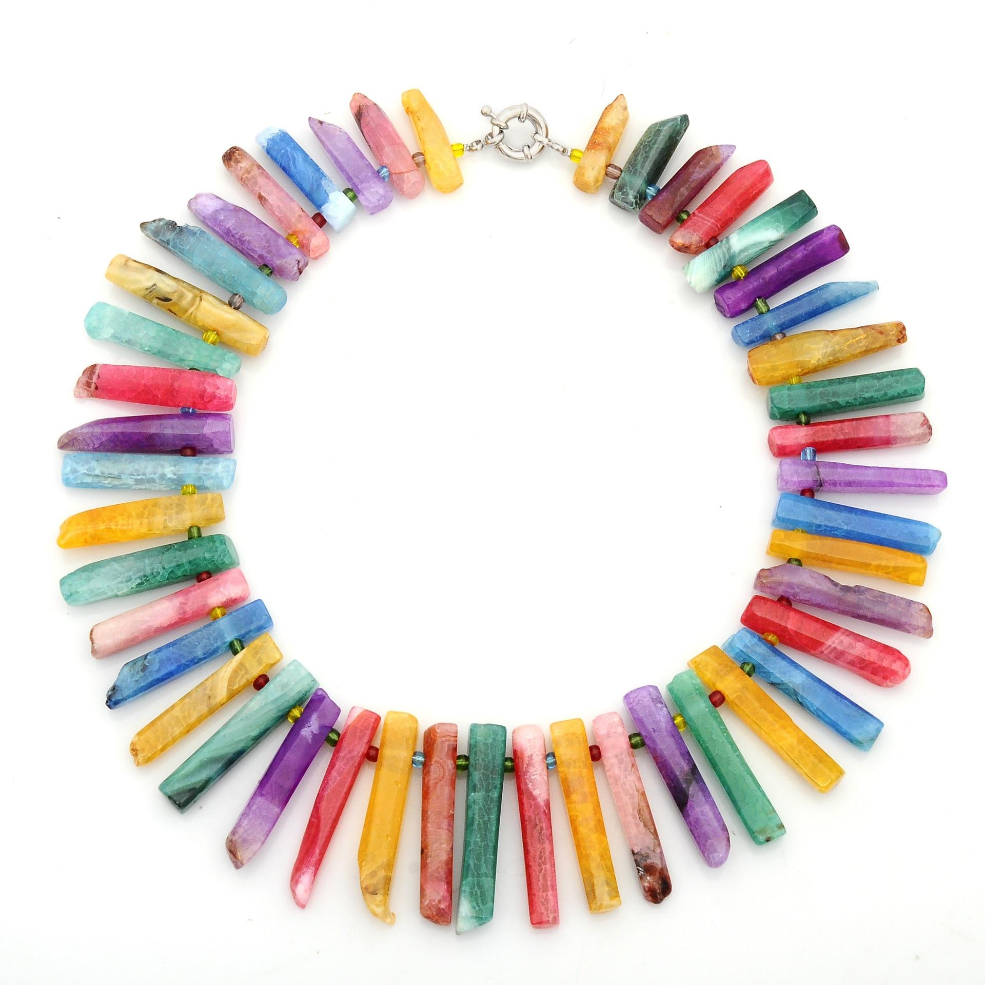 [해외]Man Women Long Necklace Natural Stone Beads Necklace Crystal Agate Beads Choker Necklace Jewelry for Gift Birthday Party Gift/Man Women Long Neckl