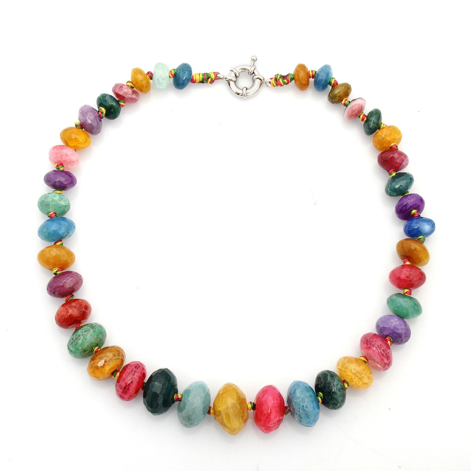 [해외]Natural Stone Beads Necklace Crystal Agate Beads Choker Candy Necklace Women Jewelry for Mother`s Day Gift Birthday Party Gift/Natural Stone Beads