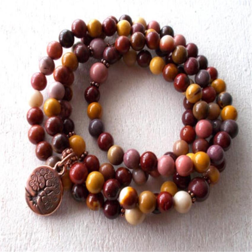 [해외]6mm Mookaite Gem Bracelet natural Unimen mala Wrist Meditation Handmade pray Chakas spirituality Fancy cuff energy Wristband/6mm Mookaite Gem Brac