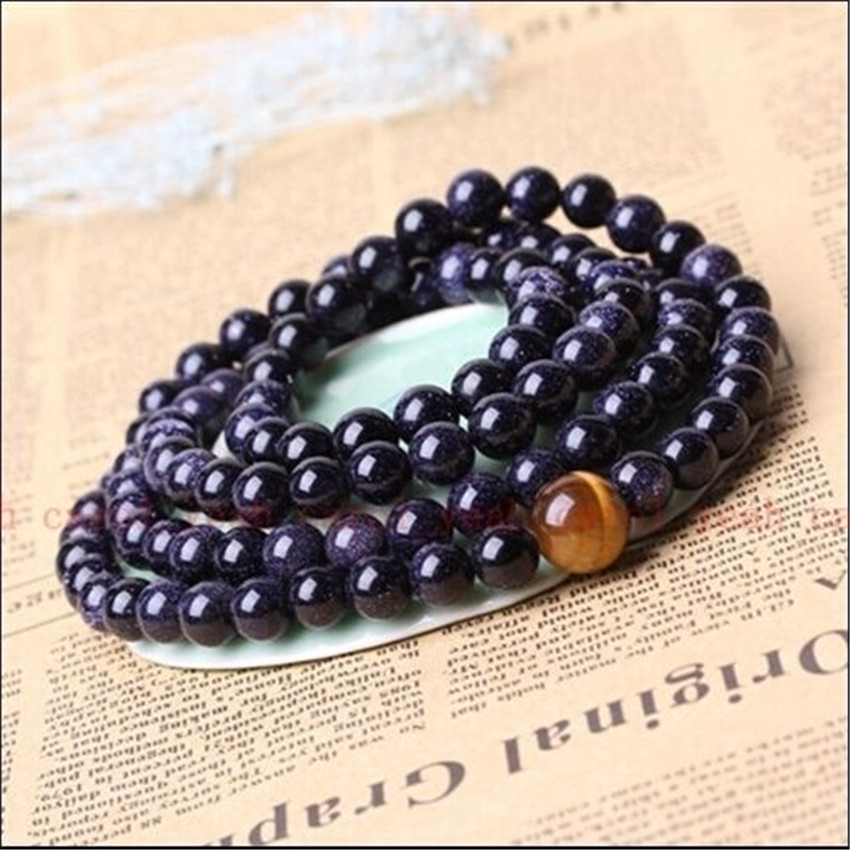 [해외]6m Blue sandstone Bracelet Wrist Sutra Hot Wristband Fancy energy cuff Chakas Handmade Healing Uniyoga Bless Lucky MONK mala/6m Blue sandstone Bra