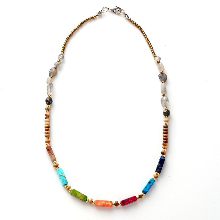 [해외]Chakra Necklace Natural Stone Labradorite Choker Necklace Women  New Fashion Bead Chain Necklaces/Chakra Necklace Natural Stone Labradorite Choker