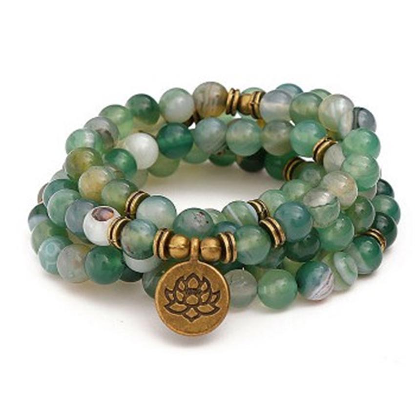 [해외]6mm Indian Stone Bracelet 108 Beads Lotus Pendant Energy Spirituality Classic Elegant Healing Diy Monk Wristband Sutra Pray/6mm Indian S