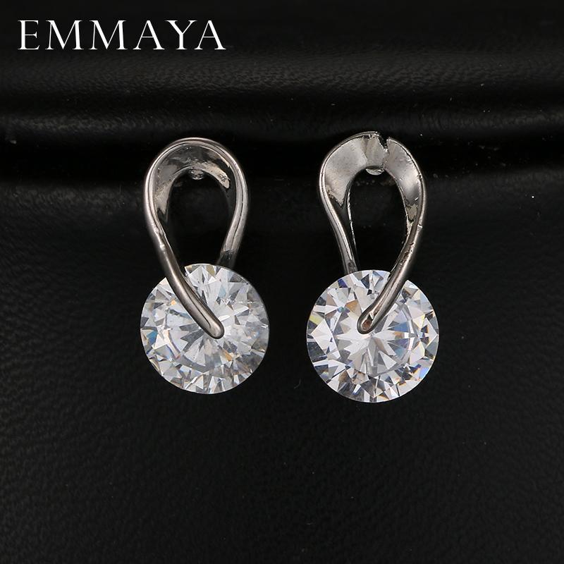 [해외]EMMAYA AAA + 큐빅 지르코니아 스터드 귀걸이 화이트 골드 컬러 CZ 스톤 패션 웨딩 쥬얼리 여성용 / 레이디 용/EMMAYA AAA+Cubic Zirconia Stud Earrings White Gold Color CZ Stone Fashion Wedd