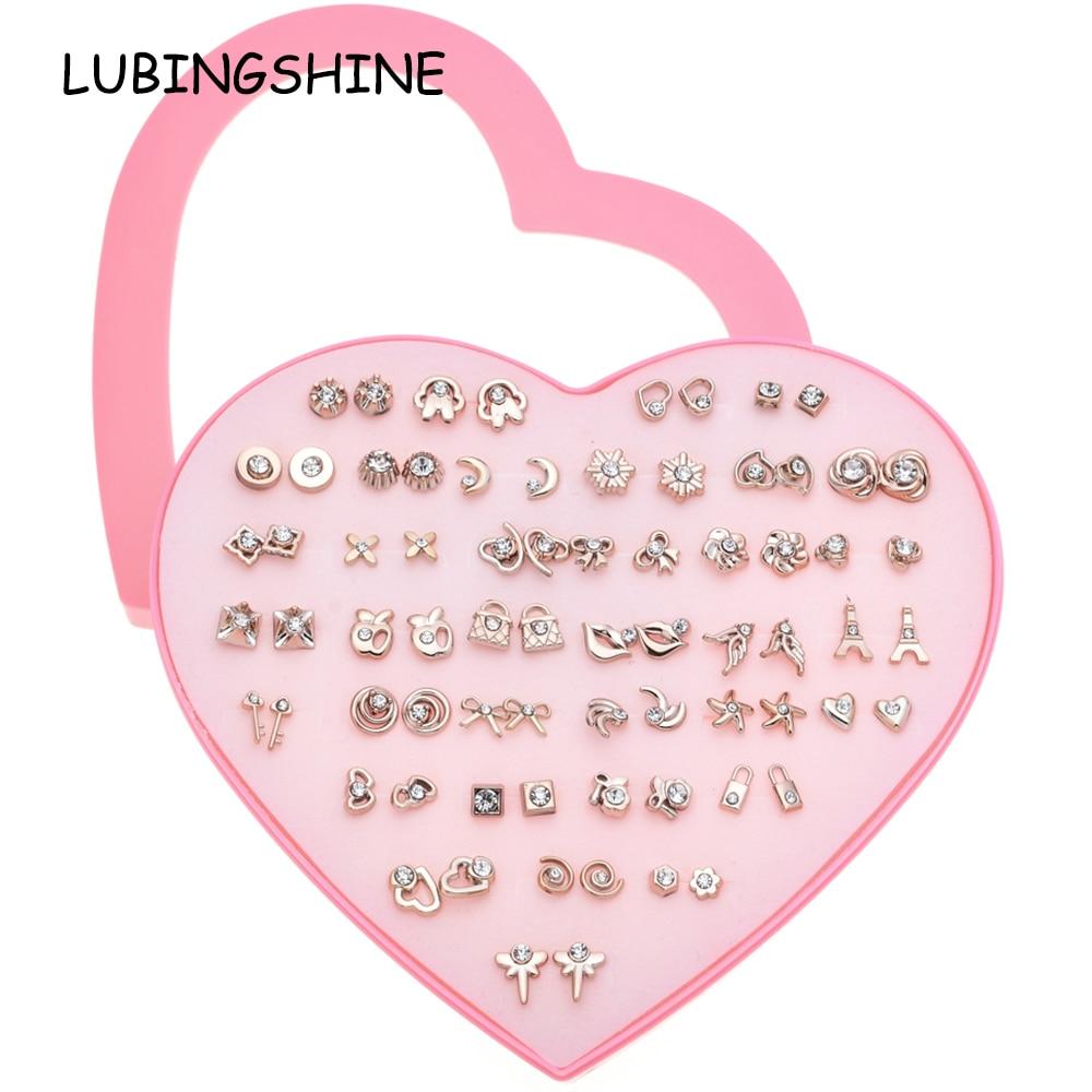 [해외]LUBINGSHINE 트렌디 여성 골드 실버 색상 스터드 귀걸이 36 쌍 어린이 하트 키 플라워 귀걸이 패션 주얼리 선물/LUBINGSHINE Trendy Women Gold Silver Color 36 pairs of Stud Earrings Child Hea