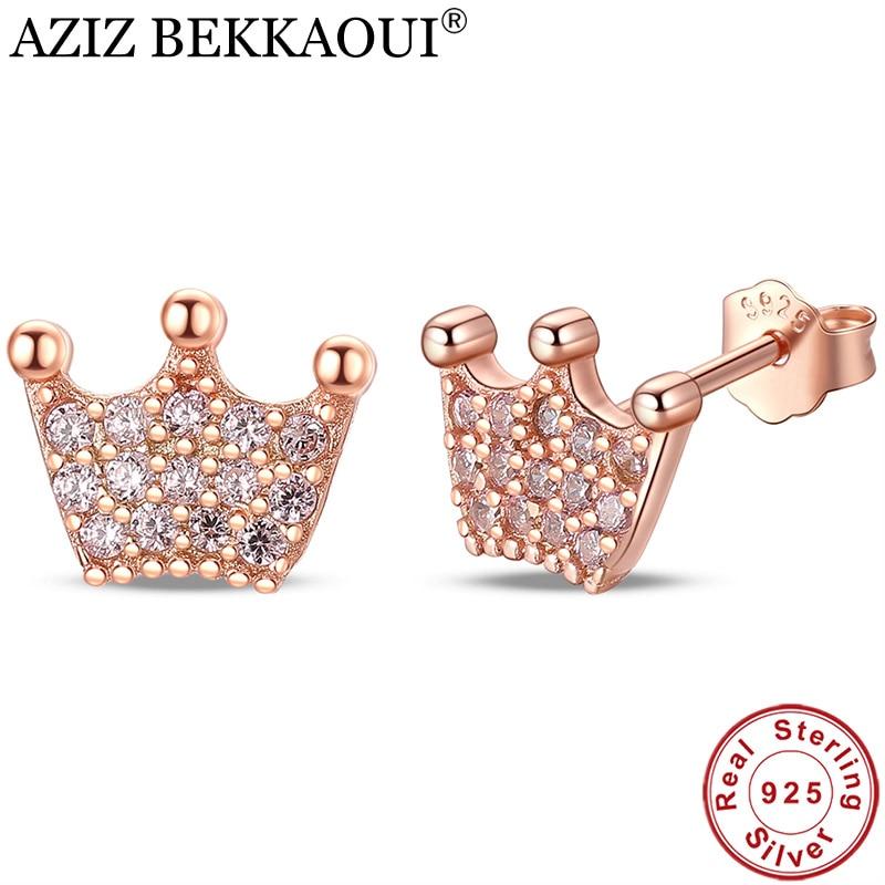 [해외]AZIZ BEKKAOUI 100 % 925 스털링 실버 공주 크라운 지우기 CZ 스터드 귀걸이 여성 패션 쥬얼리 선물/AZIZ BEKKAOUI  100% 925 Sterling Silver Princess Crown Clear CZ Stud Earrings fo