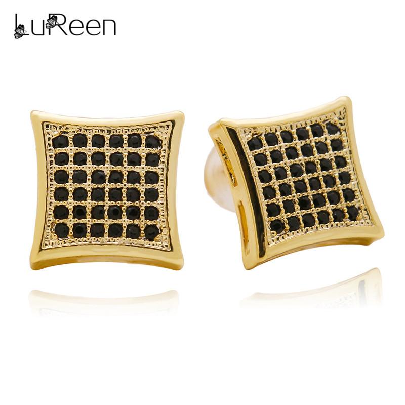 [해외]LuReen 힙합 아이스 여성을스터드 귀걸이 남성 기하학 마이크로 포장 Cz 광장 귀걸이 Brincos 쥬얼리 선물 WGEH1001/LuReen Hip Hop Iced Out Stud Earring For Women Men Geometric Micro Pave