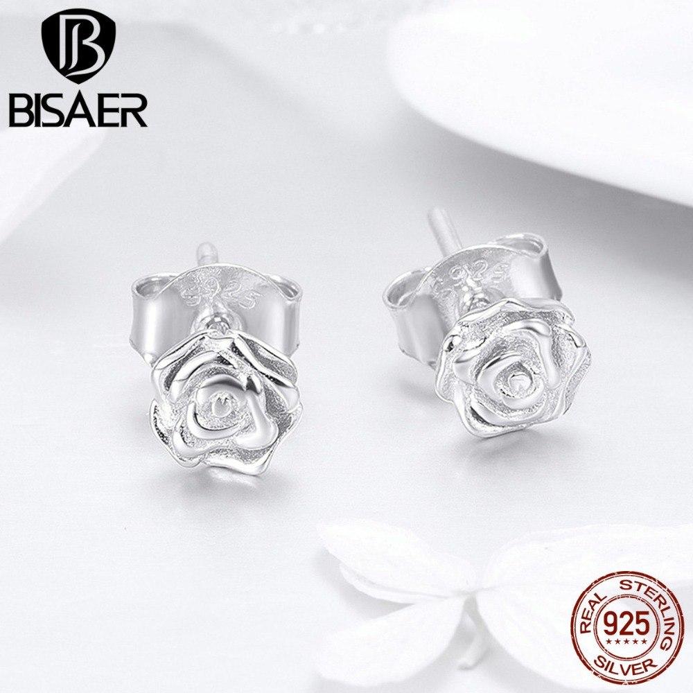 [해외]BISAER 925 스털링 실버 로맨틱 로즈 꽃 작은 스터드 귀걸이 여성을패션 꽃 모양 귀걸이 쥬얼리 EFE012/BISAER 925 Sterling Silver Romantic Rose Flower Small Stud Earrings for Women Fash