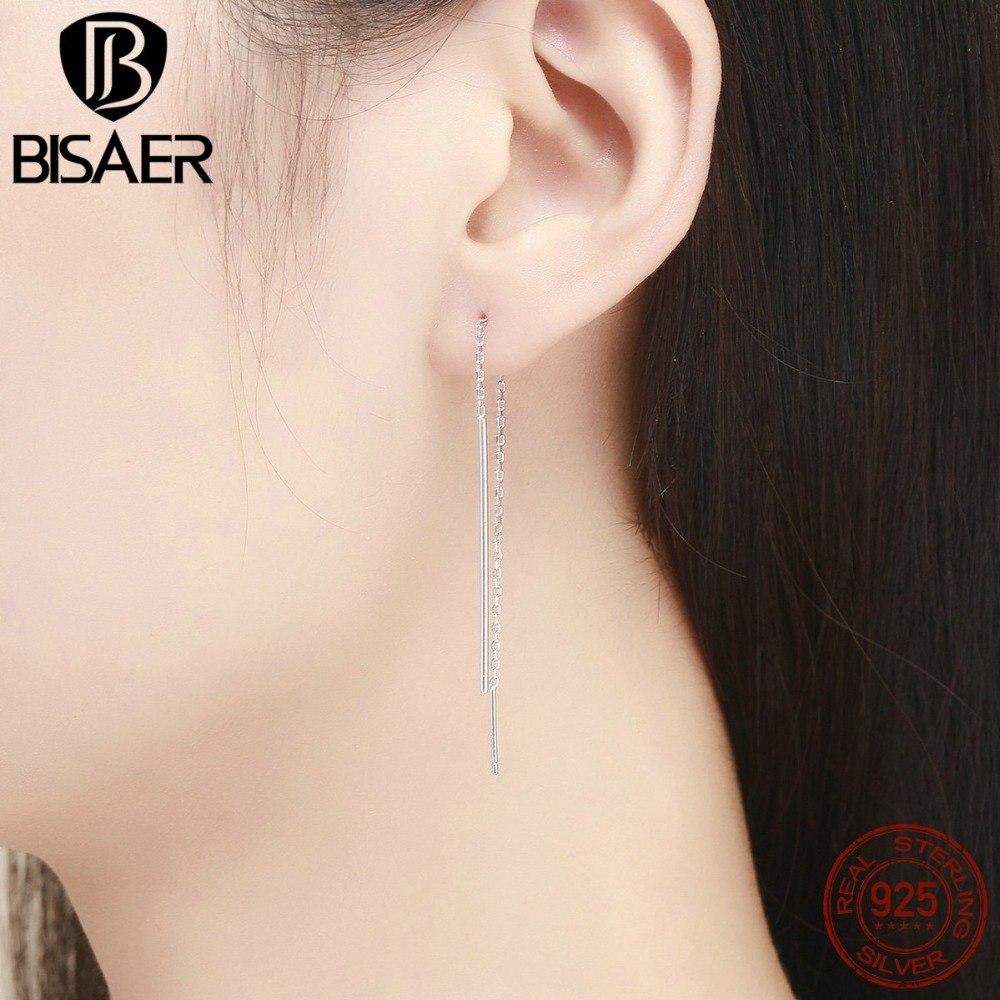 [해외]BISAER 패션 925 스털링 실버 심플 라인 여성용 스터드 귀고리 스털링 실버 주얼리 Brincos ECE490/BISAER Fashion 925 Sterling Silver Simple Line Long Chain Stud Earrings for Women