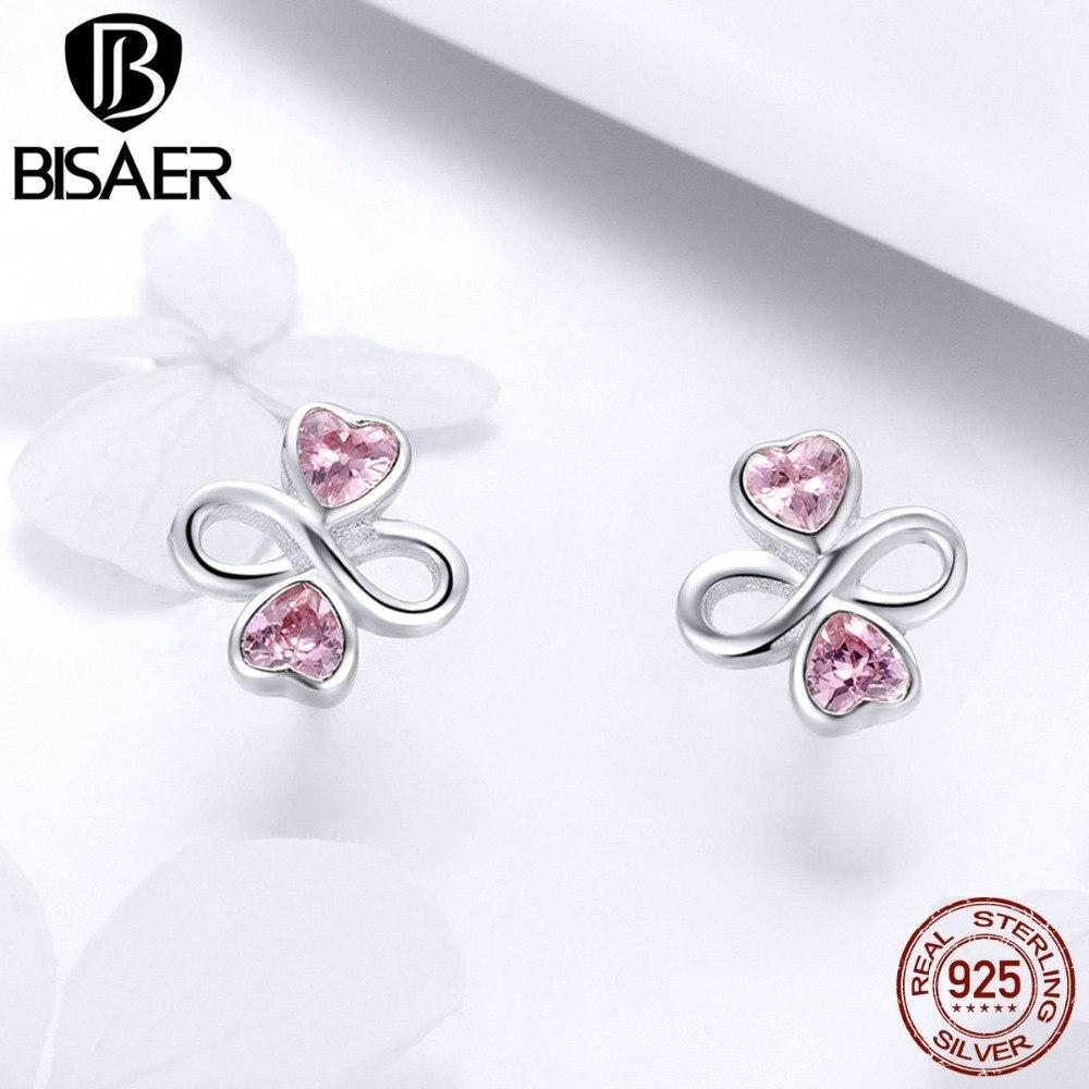 [해외]BISAER 925 스털링 실버 핑크 클로버 무한 하트 스몰 스터드 귀걸이 여성 패션 클로버 귀걸이 쥬얼리 ECE455/BISAER 925 Sterling Silver Pink Clover Infinity Heart Small Stud Earrings for W