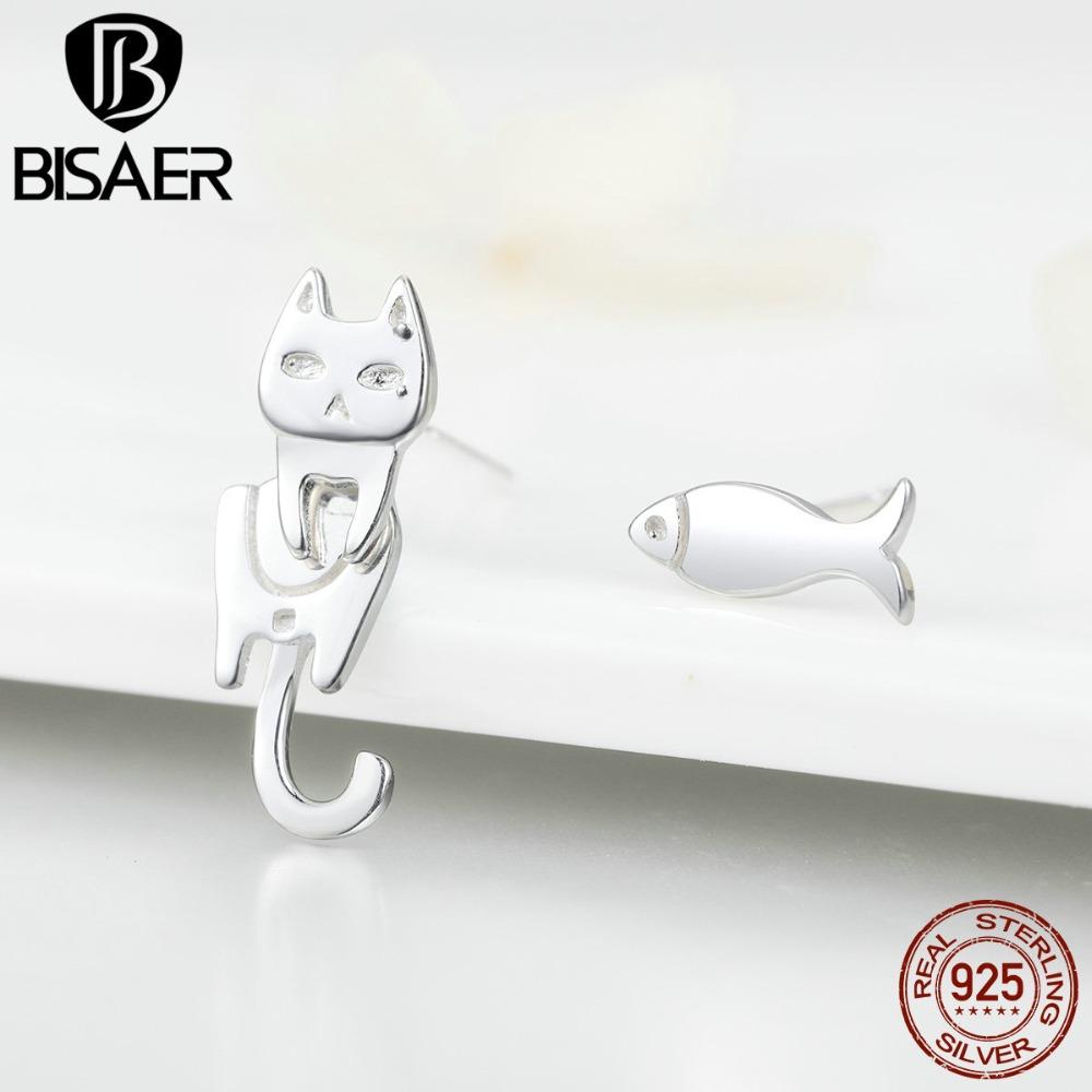 [해외]BISAER 925 스털링 실버 고양이 물고기 러브 스토리 작은 스터드 귀걸이 간단한 동물 고양이 사랑 물고기 패션 귀걸이 쥬얼리 ECE488/BISAER 925 Sterling Silver Cat Fish Love Story Small Stud Earrings
