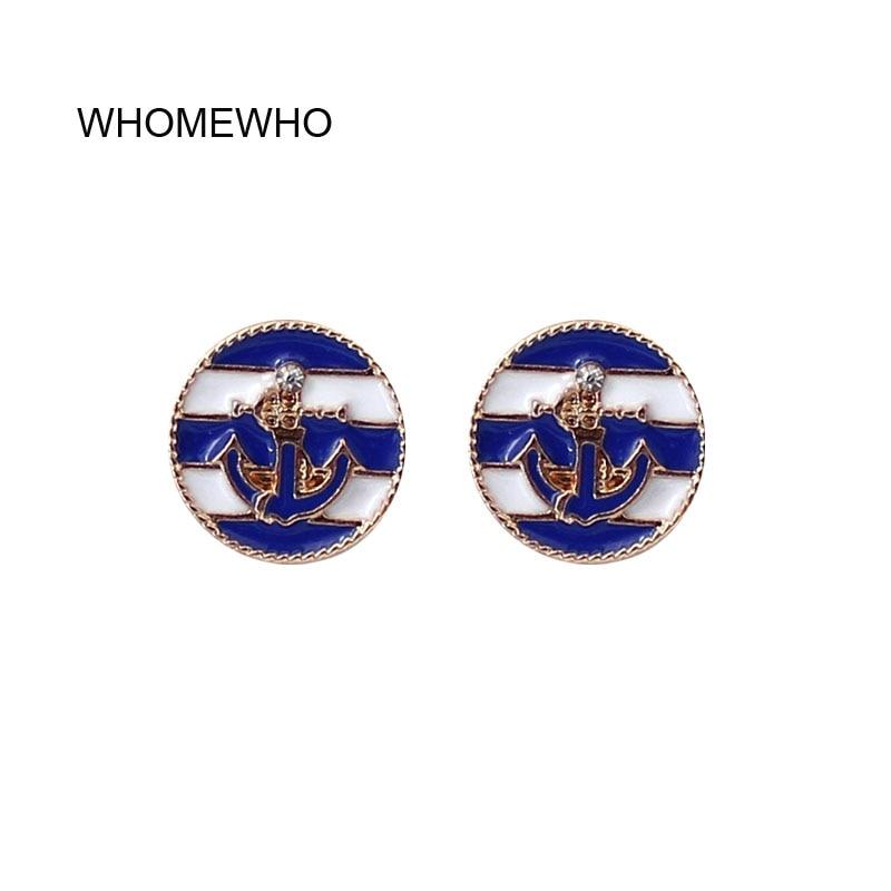 [해외]2019 에폭시 블루 레드 Sealife 해양 앵커 버튼 Embossment 스터드 귀걸이 패션 라운드 골드 한국어 세련된 귀 미니멀 쥬얼리/2019 Epoxy Blue Red Sealife Marine Anchor Button Embossment Stud Ea