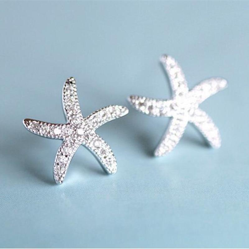 [해외]New Fashion Anti-allergic 925 Sterling Silver Micro-embedded Crystal Starfish Personality Exquisite Earrings   SE37/New Fashion Anti-allergic 925