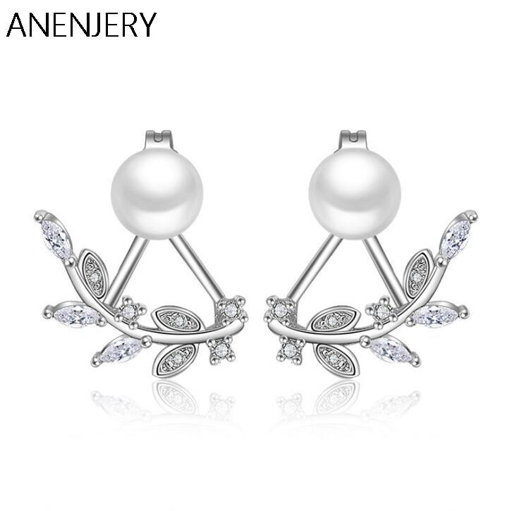[해외]Exquisite 925 Sterling Silver Jewelry Front Back Double Sided Leaves Petals Zircon Pearl Stud Earrings brincos For Women S-E107/Exquisite 925 Ster