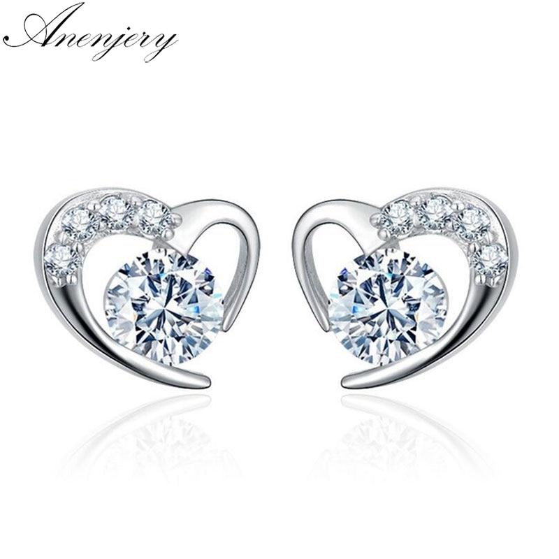 [해외]Anenjery Tender Love 925 Sterling Silver Earrings For Women Jewelry Dazzling CZ Heart Stud Earrings pendientes oorbellen S-E477/Anenjery Tender Lo