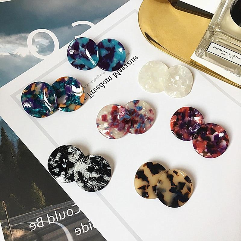 [해외]UJBOX 2018 Japanese Korean Irregular Round Acetate Earrings Women Multi Color Acetic Acid Stud Earrings Wholesale E443/UJBOX 2018 Japanese Korean