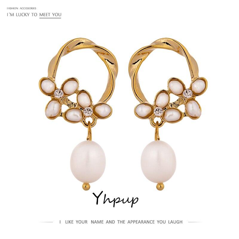 [해외]Yhpup S925 Silver Pin Luxury Freshwater Natural Pearl Stud Earrings Romantic Elegant Flowers Charms Earrings Women Wedding Gift/Yhpup S925 Silver