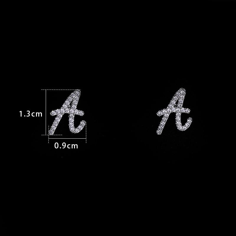 [해외]baiduqiandu Letter A-Z 925 Silver Pins Tiny Initial Earrings Personalized Bridesmaids Alphabet Stud Earrings Everyday Jewelry/baiduqiandu Letter A