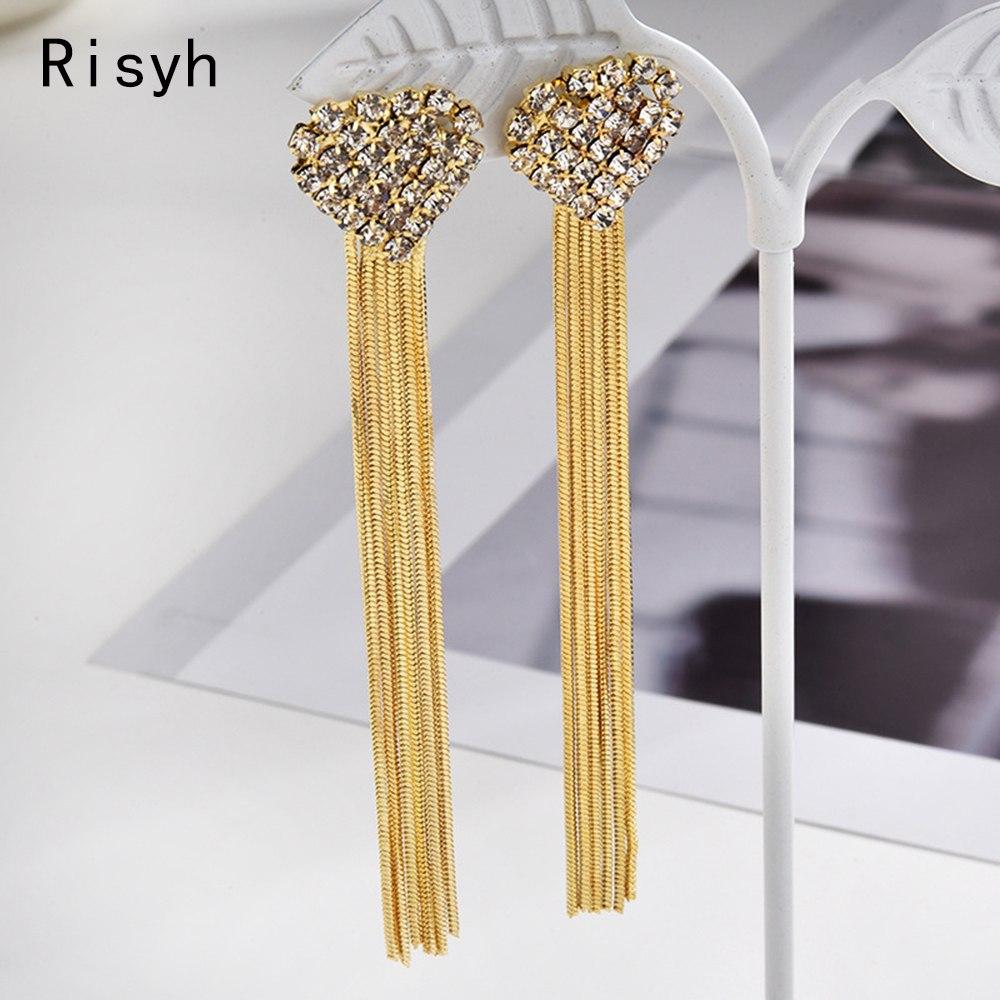 [해외]Risyh Fashion long heart-shaped tassel exaggerated bridal earring wedding dress accessories earrings/Risyh Fashion long heart-shaped tassel exagge