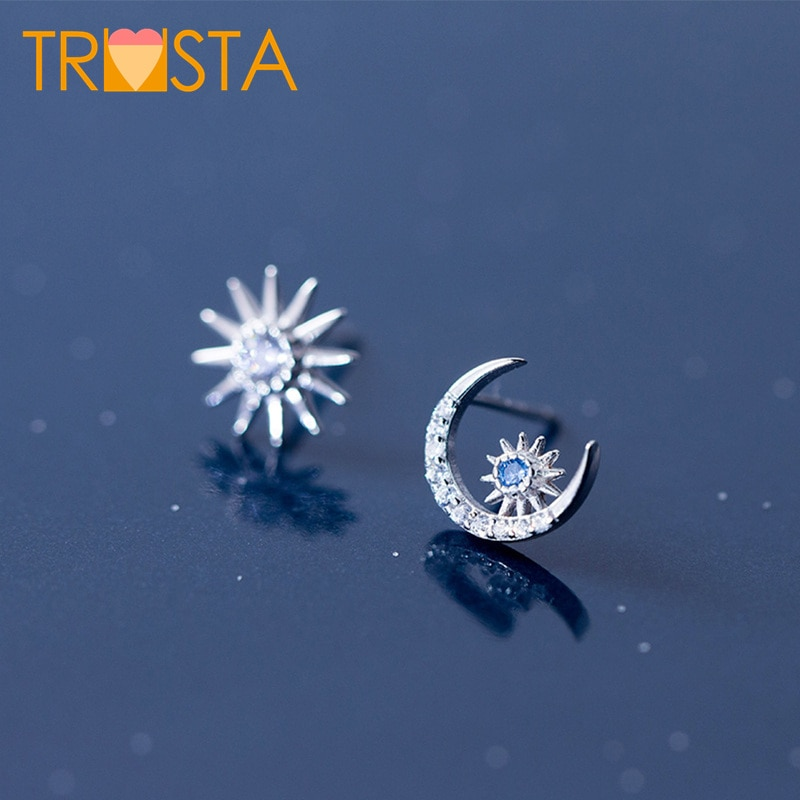 [해외]Trusta 100% 925 Solid Sterling Silver Jewelry Cute 10mmX10mm Sun Moon CZ Stud Earring For Women Creative Fashion Jewelry XY884/Trusta 100% 925 Sol