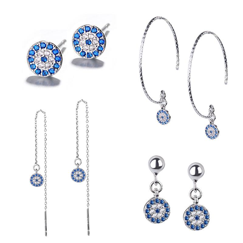 [해외]Fashion Turkish Retro Devil`s  Evil Eye Earrings Blue eye Clear CZ Crystal Stud Line  Earrings for Women Wedding Jewelry Brincos/Fashion Turkish R