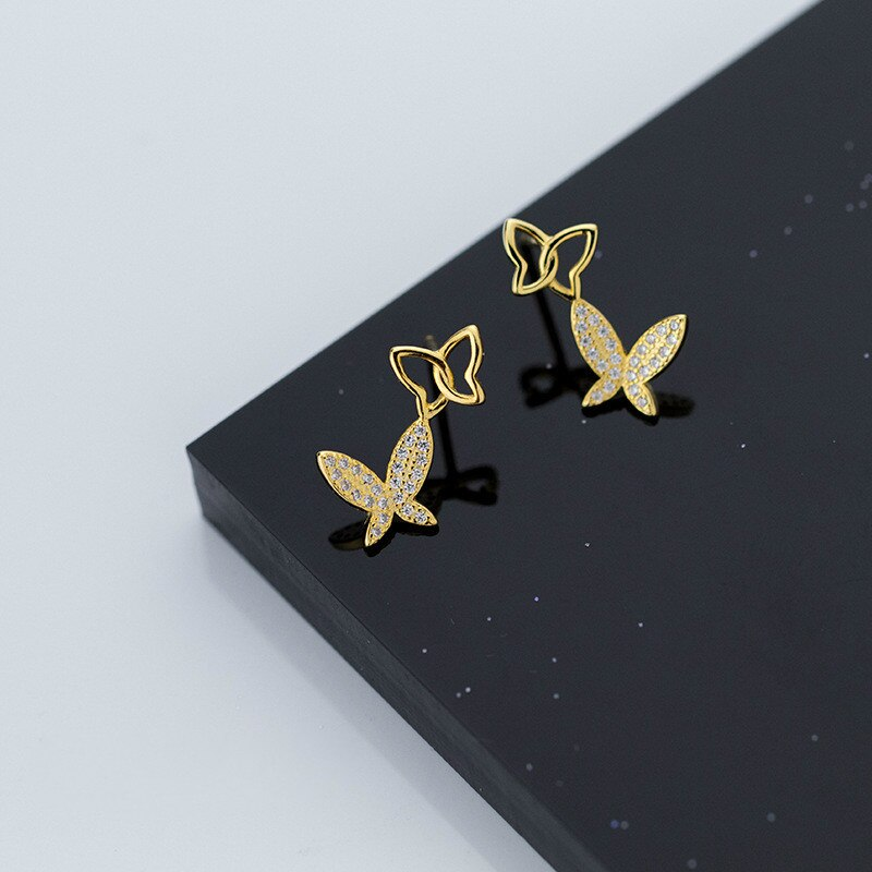 [해외] Genuine 925 Sterling Silver butterfly Stud Earrings for Women Fashion Silver Jewelry/ Genuine 925 Sterling Silver butterfly Stud Earrings for Wom