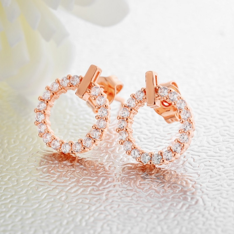 [해외]Female White Cubic Zircon Push Back Stud Earrings For Women Rose Gold Color Female Earrings Ladies Jewelry Wholesale/Female White Cubic Zircon Pus