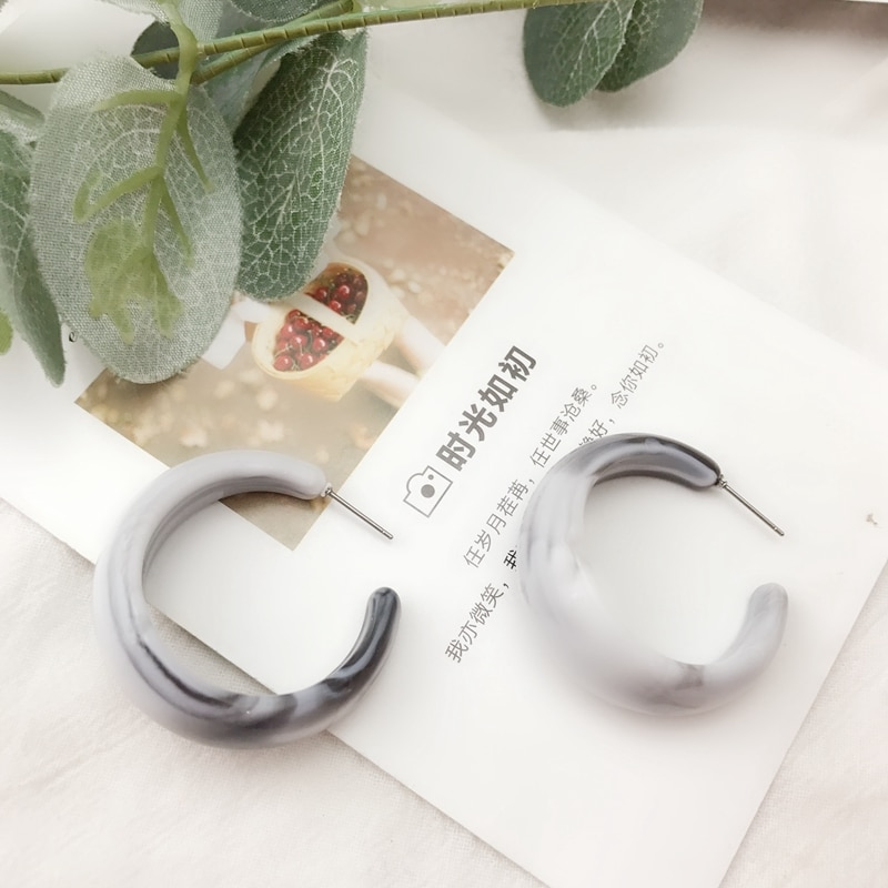 [해외] Fashion Gray C Shaped Stud New Design Pretty Earring / Fashion Gray C Shaped Stud New Design Pretty Earring