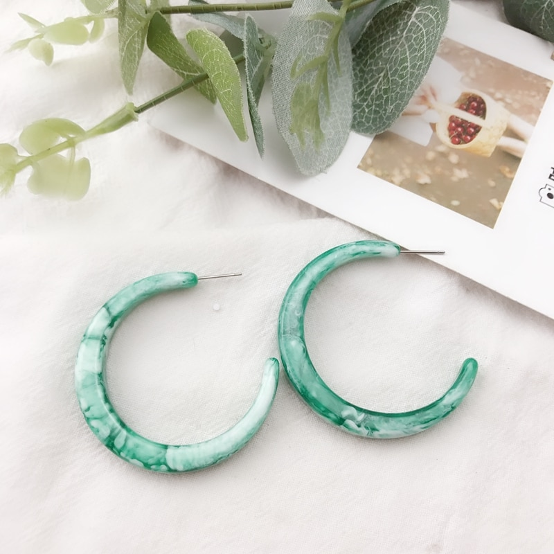 [해외] New Design Mint Color C Shaped Stud Elegant Earring / New Design Mint Color C Shaped Stud Elegant Earring