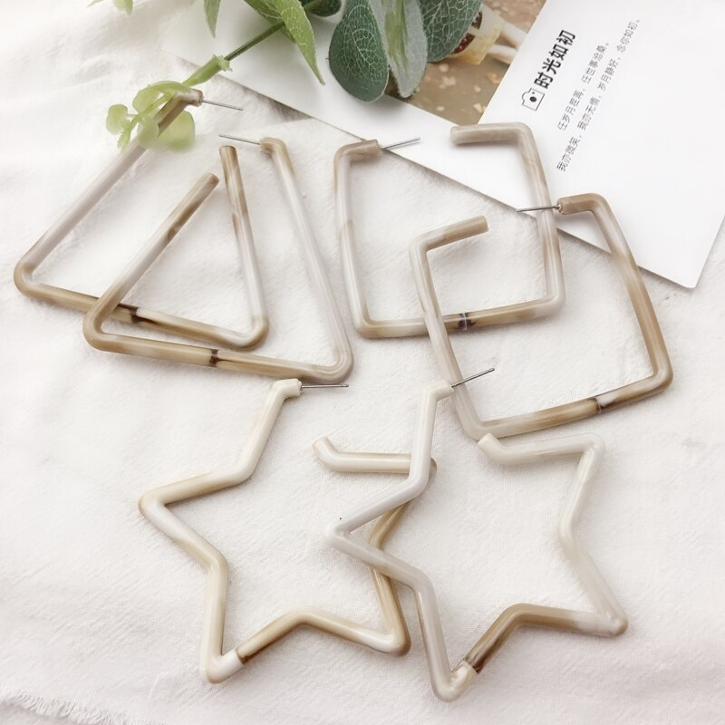 [해외] Sweet Cute Design Square Triangle Star Resin Stud Earring/ Sweet Cute Design Square Triangle Star Resin Stud Earring