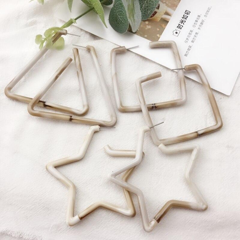 [해외] Sweet Cute Design Square Triangle Star Resin Stud Earring/ Sweet Cute Design Square Triangle Star Resin Stud Earring