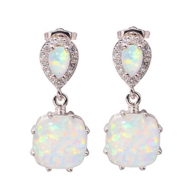 [해외]Classic Square White Fire Opal Cubic Zirconia 925 Silver Earrings Wholesale Fashion for Women Birthstone Jewelry Stud Earrings/Classic Square Whit