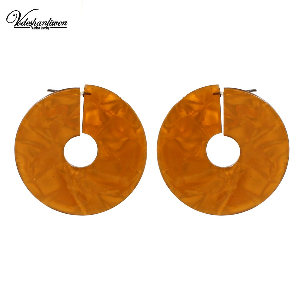 [해외]Vodeshanliwen Trendy Round Resin Big Stud Earrings For Women New Design Bohemia Vintage Statement Earrings Jewelry/Vodeshanliwen Trendy Round Resi