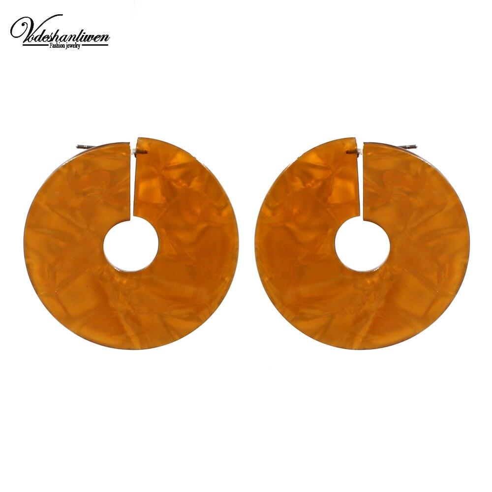 [해외]Vodeshanliwen Trendy Round Resin Big Stud Earrings For Women New Design Bohemia Vintage Statement Earrings Jewelry/Vodeshanliwen Trendy Round Resi