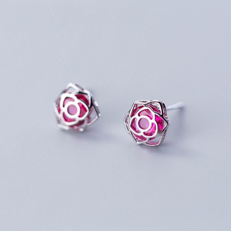 [해외]MloveAcc Original 925 Sterling Silver Shimmering Rose Petals Flower Stud EarringsPink CZ Fashion Sterling Silver Jewelry/MloveAcc Original 925 Ste