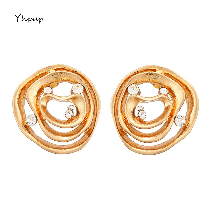 [해외]Yhpup Fashion Exquisite Brand Round Geometric Charm Stud Earrings Rhinestone Simple Design Earring For Ladies Party Jewelry Gift/Yhpup Fashion Exq