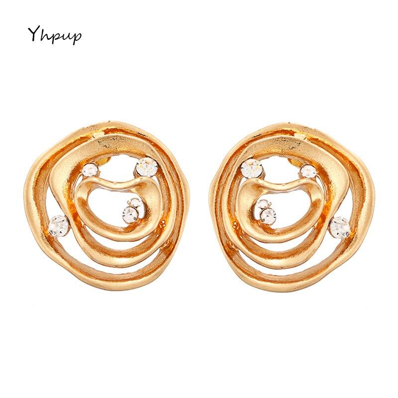 [해외]Yhpup Fashion Exquisite Brand Round Geometric Charm Stud Earrings Rhinestone Simple Design Earring For Ladies Party Jewelry Gift/Yhpup Fashion Exq