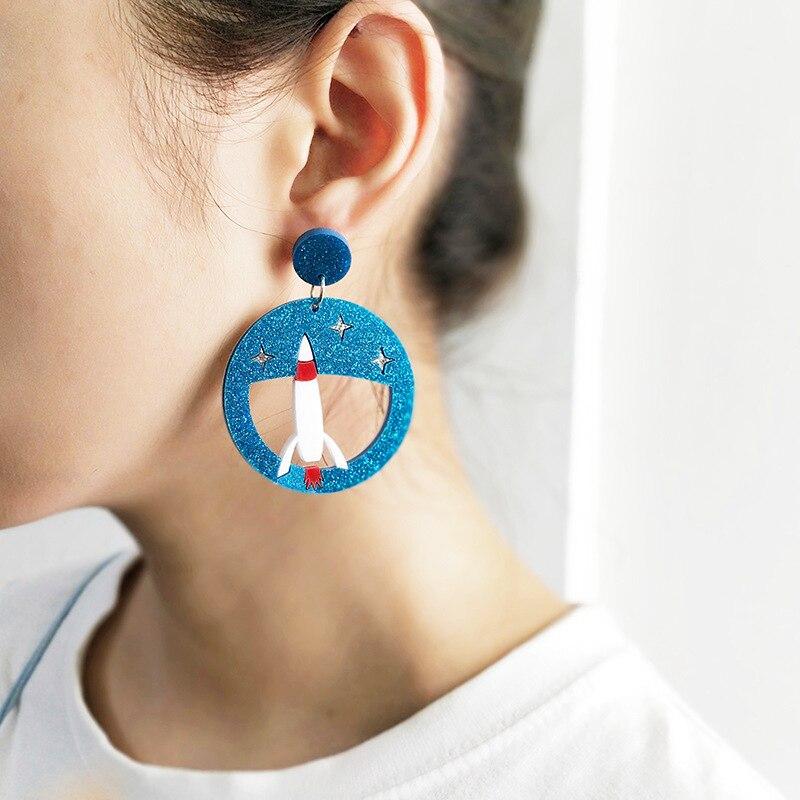 [해외]2018 New Autumn Ear Pierced Cat Rocket Penguin Stud Earrings for Women Night Club Cool Acrylic Long Earrings Jewelry Studs/2018 New Autumn Ear Pie